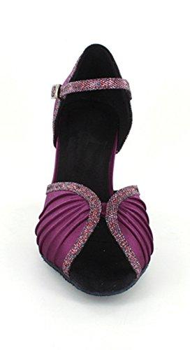 Minitoo Women's Mid Heel Ruched Satin Latin Moderm Dance Shoes Evening Wedding Sandals Purple l8lL2y