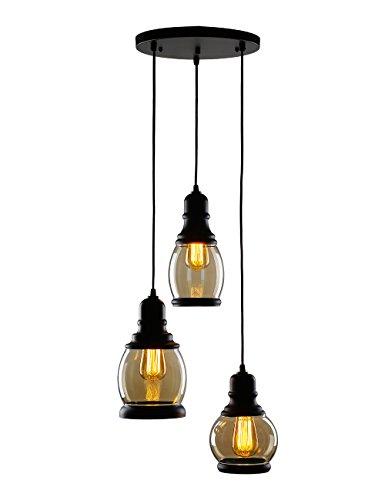 CO-Z 3-Light Cluster Chandelier Pendant, 3 Glass Jar Hanging Pendant Ceiling Lighting Fixture, Antique Black Mason Jar Pendant Light for Kitchen Island Dining Table Bar Counter Bedroom by CO-Z (Image #1)
