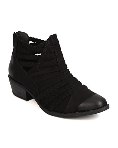 Faux Qupid Out Suede FH07 Cut Bootie Black Pointy Women Toe Braided FTqTB