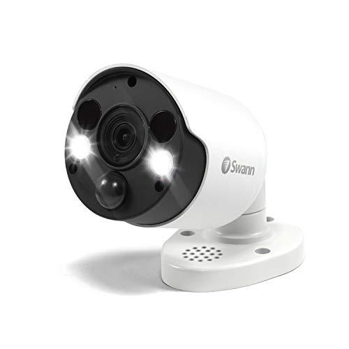 Swann Wired PIR Bullet Security Camera & Spotlight, 4K Ultra HD Surveillance Cam w/Color Night Vision, Indoor/Outdoor, Thermal, Heat & Motion Sensing, 2 Way Talk/Siren, Add NVR w/PoE, SWNHD-887MSFB