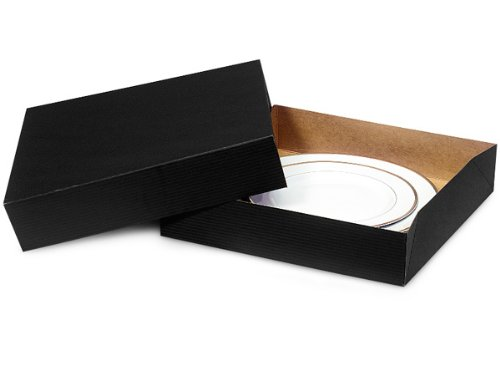 Pack of 50, Solid Black Gift Boxes 12 x 12 x 2.5'' 2 Pc Box 100% Recycled Kraft, Use Food Safe Barrier Like Food Grade Tissue or Cello for Food Packaging by Generic