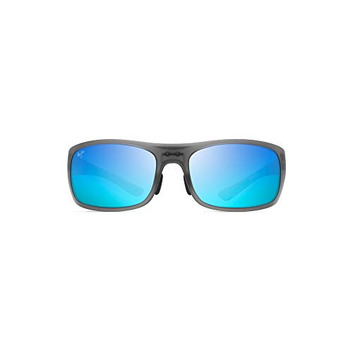 Maui Jim Big Wave B440-11M | Polarized Translucent Matte Grey Wrap Frame Sunglasses, Blue Hawaii Lenses, with Patented PolarizedPlus2 Lens Technology