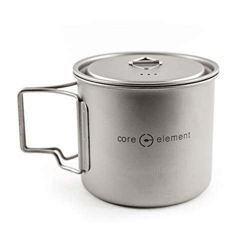 Core Element Dual Purpose Camping Mug or Pot with Lid - 100% Titanium 550 ml / 19 oz Suitable for Open Fire Direct Flame (3.75 L X 3.75 W X 3.5 H Inches) - Folding Handles - Space Saver - Easy Clean