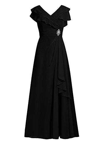 Dresstells®Vestido De Mujer Elegante Largo De Gasa Vestido De Boda De Fiesta Negro