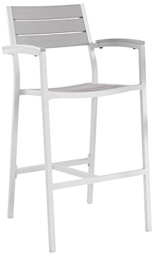 Modway Maine Aluminum Outdoor Patio Bar Stools in White Light Gray - Set of 2