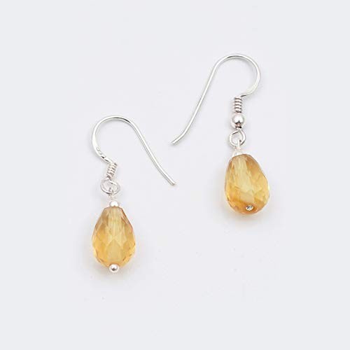 (Citrine Beads Drop Earrings with Sterling Silver Findings 1.50