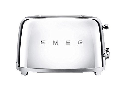 2. Smeg TSF01SSUS 50's Retro Style Aesthetic 2 Slice Toaster, Chrome
