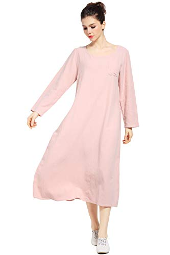 Anysize Long-Sleeved Linen Cotton Spring Summer Dress Plus Size Clothing F148A Skin Pink 1 Pack X Rub