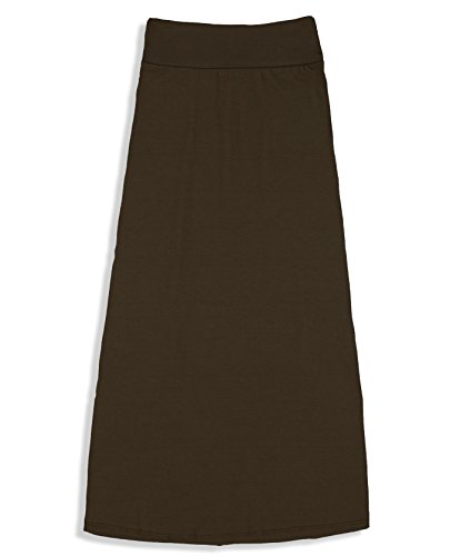 Free to Live Girls 7-16 Maxi Skirts - Great for Uniform (Large, Brown)