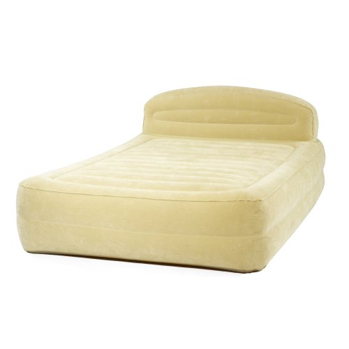 Smart Air Beds Queen Sized Premium Raised Air Bed with Ultra-Flocking and Headboard, Outdoor Stuffs