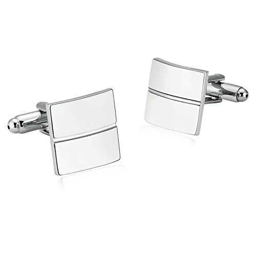 Gnzoe Men Stainless Steel Silver Single line Shirt Cufflinks with Gift Box