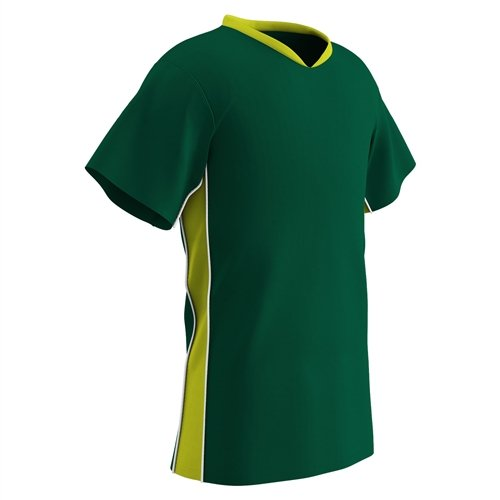 CHAMPRO Adult Header Lightweight Soccer Jersey, Forest Green/Optic Yellow/White, ()