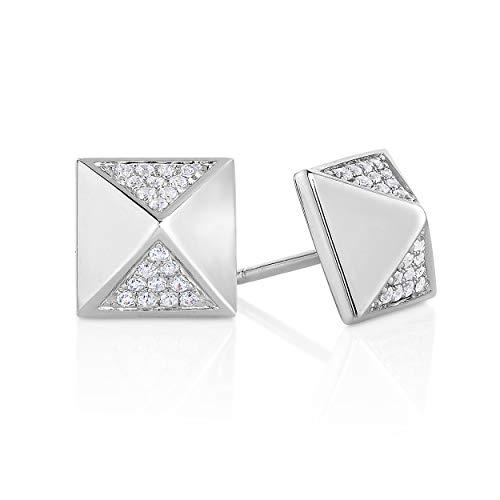 1/10 Cttw Genuine Diamond Pyramid Earrings in Sterling Silver