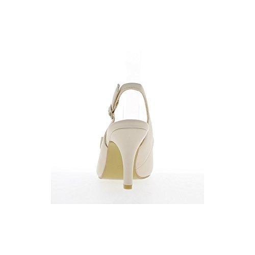Sandales beiges à talon de 9cm et noeud décoratif