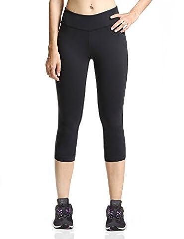 Baleaf Women's Yoga Capri Pants Workout Running Legging Inner Pocket Black Size XL