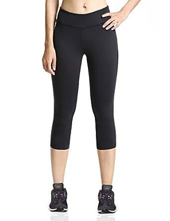 Baleaf Women's Yoga Capri Legging Inner Pocket Non See-through Black Size XS