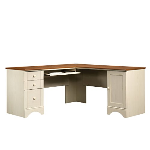Collection Corner Hutch (Sauder Harbor View Corner Computer Desk, Antiqued White)