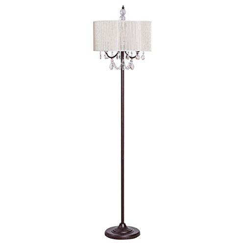 Tangkula Crystal Floor Lamp Sheer Shade Elegant Design Floor Light Tall Upright lamp Stand Light with Led Bulbs for Living Room, Bedroom and Office(Beige) ()