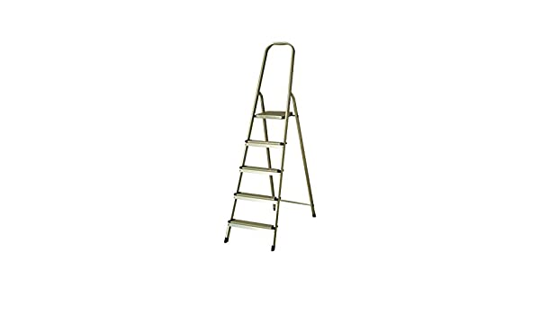 Escalera de Aluminio 5 Peldaños Catter House Alt. Máx.Trabajo 307 cm Plegable con Barandilla: Amazon.es: Bricolaje y herramientas
