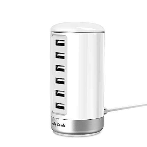Jelly Comb 6 Ports USB Charger Station with Smart Identification for Phones, Tablets, Kindle and More USB Devices, White