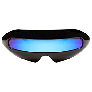 Futuristic Cyclops Mirror Single Lens Oval Sunglasses (Lighter Blue Lens)