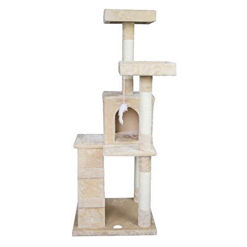 ZDY Beige Felpa Gatos Árbol,Recubiertos Natural Sisal Arañazo Columnas,Superior Gatos Productos: Amazon.es: Hogar