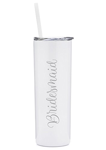 Bridesmaid Tumbler - 20 oz Stainless Steel Insulated Tumbler with Lid and Straw - Bridesmaid Proposal | Bridal Party Gift | Thank You Bridesmaid (White and Silver)