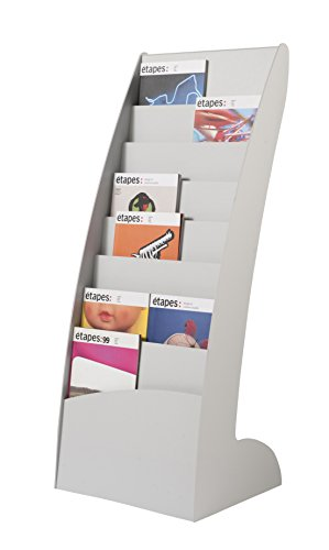 Stand Floor Display Literature Letter - PaperFlow Curved Front Literature Display, Floor Standing, 8 Compartments, 42.67x17.44x13.78 Inches, Gray (285.02)