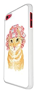 937 - Cool cute fun cat kitten felibe pet love curlers funny illustration art ginger cat Design For Apple ipod Touch 5 Fashion Trend CASE Back COVER Plastic&Thin Metal - White