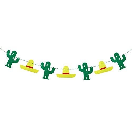 OULII Fiesta Cactus Banners Luau Hawaii Party Supplies Cinco De Mayo Party Decoration Summer Party Backdrop Tropical Birthday Party Decor (Cinco De Mayo Birthday)