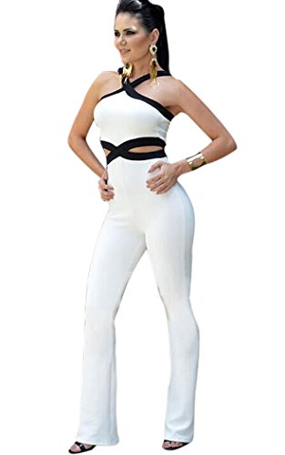 Aro Lora Women's Halter Criss Cross Backlss Long Pants Jumpsuits Rompers XX-Large White