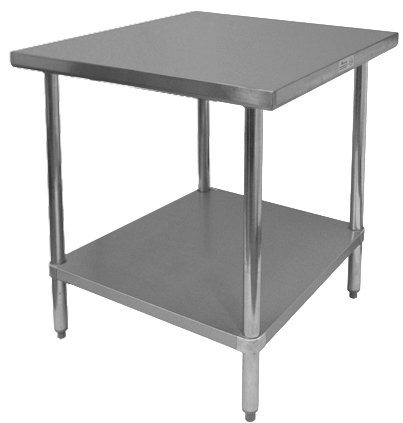 GSW Commercial Flat Top Work Table with Stainless Steel Top, 1 Galvanized Undershelf & Adjustable Bullet Feet, 24