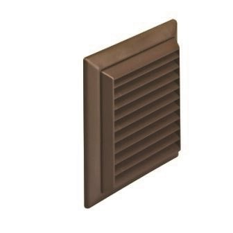 100mm Louvred Grille with Fly Screen 4 Brown