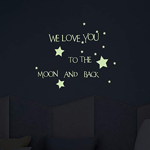 - Glow in The Dark Words Wall Decal,WE Love You to The Moon and Back Removable Luminous Stickers for Kids Boys Girls Nursery Bedroom Home Decoration