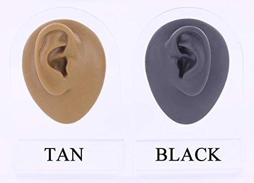 Plug Right Ear Display in Black - Small-Sized Silicone Body Bit with Plastic Stand - Version 1