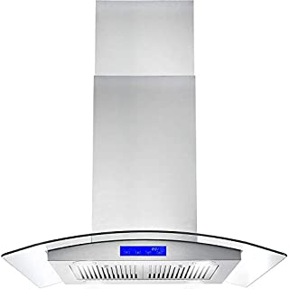 Cosmo 668ICS750 30 in. Island Mount Range Hood with Soft Touch Controls, Permanent Filters, LED Lights, Tempered Glass Visor in Stainless Steel