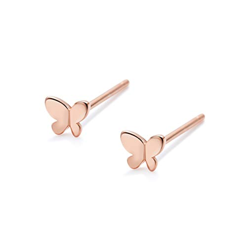 S.Leaf Tiny Sterling Silver Stud Earrings High Shine Butterfly Earrings for Woman (rose gold ()