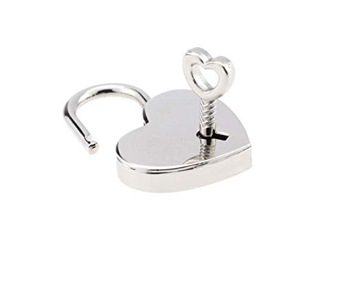 BeeSpring 1 Pieces Height Polished Heart Shaped Padlock Skeleton Key,Replacement Handbag Bag, Wedding Bow Lock - Silver Color