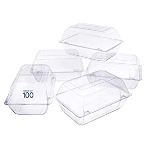 100 Pack Clear Plastic Flower Box for Corsage, Boutonniere, Rose, Orchid Prom Wedding Craft Container 9x6x5 45