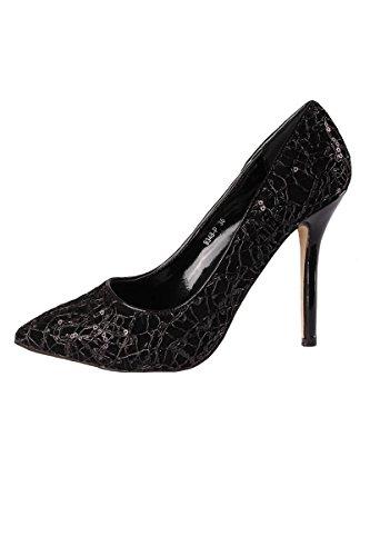 SR S&R Sequins and Stiletto Stiletto Heel Pumps Ladies Shoes Black Black f2y2lmIB