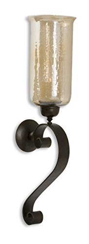 Intelligent Design Iron Scroll Amber Glass Wall Candle   Old World Sconce Holder