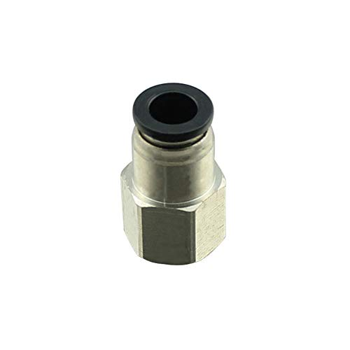 Plastic & Nickel Plated Brass Push to Connect Straight Female Connector Fitting, 3/8