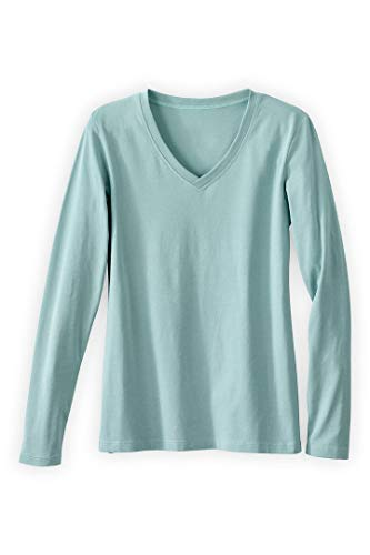- Fair Indigo Fair Trade Organic Essential Long Sleeve V-Neck Tee (L, Spa Blue)