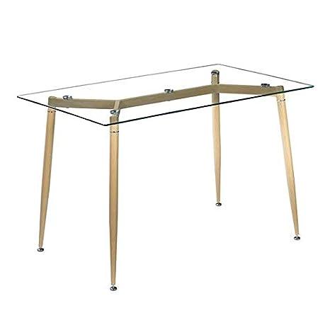 Amazon.com: ilovo - Mesa de comedor con patas de madera y ...
