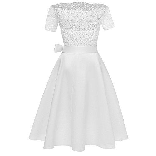 Nouvelle Dentelle Mini Robe FemmeVintage avec Ceinture pour Robe De Mariage/soire White