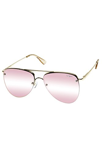 Le Specs Women's The Prince Mirrored Sunglasses, Gold/Blush Peach Revo, One Size