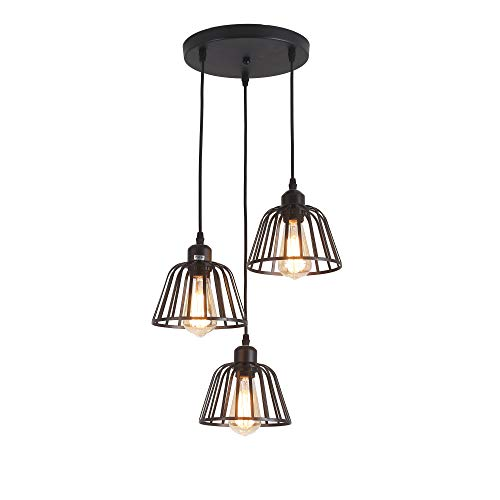 - Rustic Industrial Pendant Light,3 Lights Industrial Ceiling Hanging Light Fixture Chandelier E26 for Kitchen Island Bedroom Living Dining Room,Black