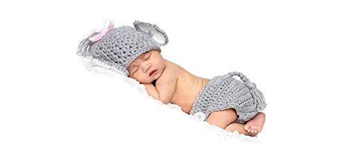 MATISSA Newborn Baby Girl/Boy Crochet Knit Costume Photography Prop Hats and Outfits (Baby Elephant) ()
