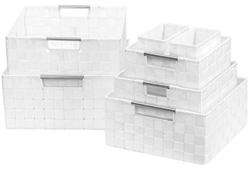 Sorbus Storage Box Woven Basket Bin Container Tote Cube Organizer Set Stackable Storage Basket Woven Strap Shelf Organizer Built-in Carry Handles (7 Piece - White) (White Baskets Wicker Cheap)