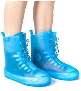 XHYRB 防水靴カバー、防水雨の季節アウトドア旅行靴カバー、男性と女性ノンスリップ太いウェアラブルスタイル、ブルー、ピンク、ホワイト 防水靴、防雨カバー、長靴 (Color : Blue, Size : L)